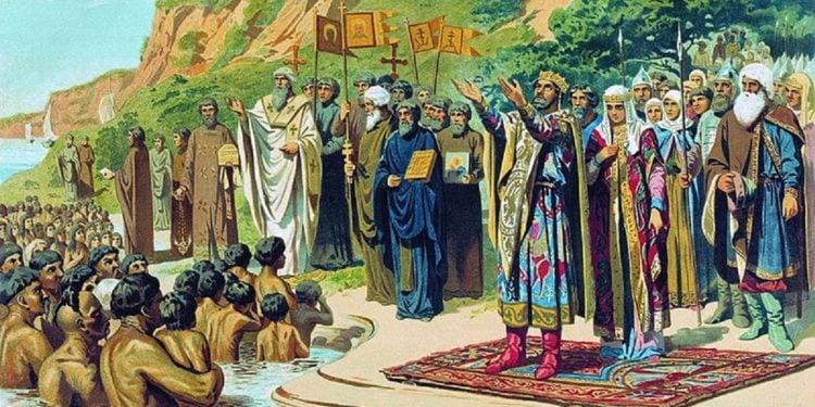 «Η Βάπτιση των Ρως», έργο του Αλεξέι Κίβσενκο (πηγή: Βικιπαίδεια)