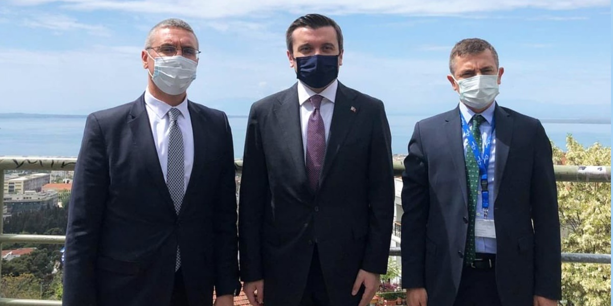 Στιγμιότυπο από την επίσκεψη στη Θεσσαλονίκη (φωτ.: Yavuz Kelim Kiran/ Twitter)