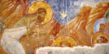 Η κάθοδος του Αγίου Πνεύματος, με μορφή περιστεράς στη βάπτιση του Ιησού Χριστού, σε τοιχογραφία στην Αγία Σοφία Τραπεζούντας (φωτ.: Θωμαΐς Κιζιρίδου)