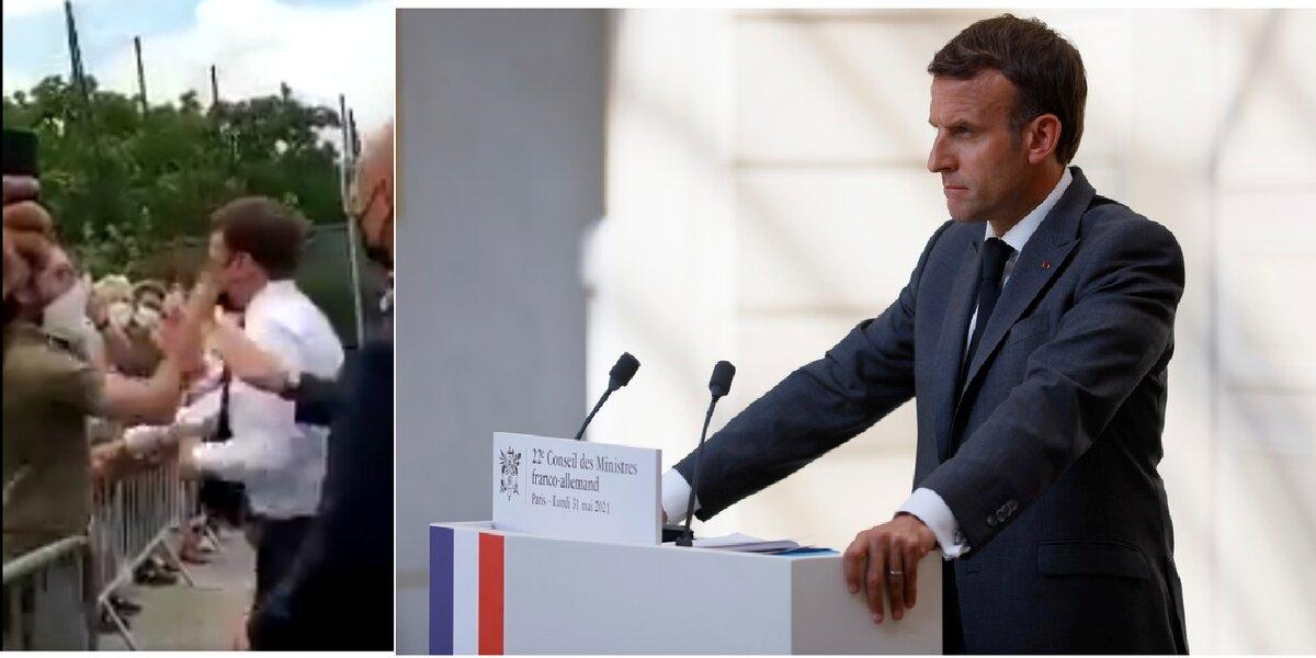 Αριστερά: Η στιγμή του χαστουκιού.Δεξιά: Ο Εμανουέλ Μακρόν (φωτ. αρχείου: EPA/ Thomas Samson)