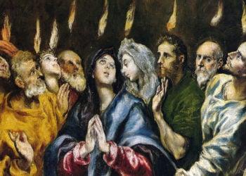 Λεπτομέρεια από τον πίνακα «Η Πεντηκοστή» του Δομίνικου Θεοτοκόπουλου. Λάδι σε καμβάς (περίπου 1600). Μουσείο Πράδο, Μαδρίτη