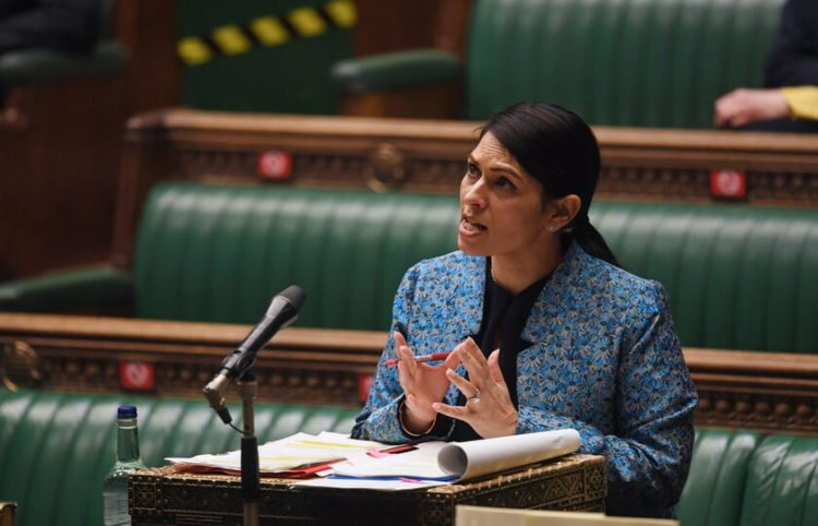 epa09076978 A handout photo made available by the UK Parliament shows British Home Secretary Priti Patel during a debate on 'Policing and the Prevention of Violence Against Women' in the House of Commons at Parliament, in London, Britain, 15 March 2021.  EPA/JESSICA TAYLOR/UK PARLIAMENT HANDOUT MANDATORY CREDIT: UK PARLIAMENT/JESSICA TAYLOR HANDOUT EDITORIAL USE ONLY/NO SALES *** Local Caption *** 55980775