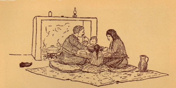 Η οικογένεια στο τραπέζι. Εικόνα από το βιβλίο «Ελληνικός Πόντος – Μορφές και εικόνες ζωής», του Συλλόγου Ποντίων «Αργοναύται-Κομνηνοί». Το σκίτσο έχει φιλοτεχνήσει ο Χρήστος Δημάρχου