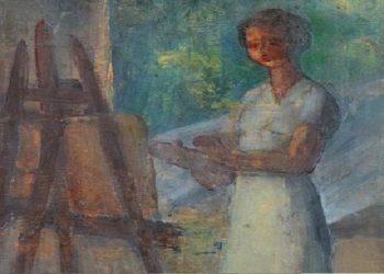 Τμήμα του πίνακα «Η Καλλιτέχνιδα» (φωτ.: Ελληνική Ζωγραφική και Γλυπτική 1680-1940/ Facebook)