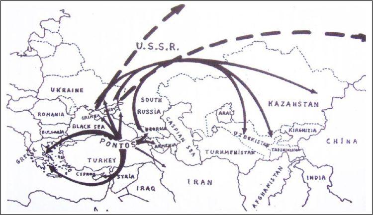 Τα βέλη που δείχνουν προς την Ελλάδα και την ΕΣΣΔ αποτυπώνουν το κύμα των προσφύγων του 1922. Τα βέλη με τις διακεκομμένες γραμμές δείχνουν τα μονοπάτια προς τα στρατόπεδα συγκέντρωσης της Σιβηρίας, ενώ τα βέλη προς τα ανατολικά δείχνουν τις μαζικές σταλινικές εκτοπίσεις Ελλήνων Ποντίων στην Κεντρική Ασία από το 1941 έως το 1944 καιαπό το 1947 έως το 1949. Πηγή χάρτη: Αγτζίδης, Β. (1993). Η κατάρρευση της Σοβιετικής Ένωσης. Οι συνέπειες για τον Ελληνισμό. Αθήνα: Ελλοπία.