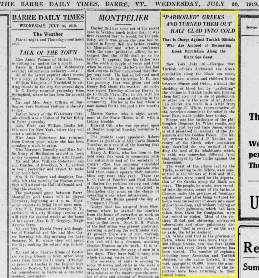 Dr George Whit newspaper Genocide 1919