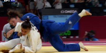 Στιγμιότυπο από τον αγώνα της Τελτσίδου με την Ταϊμάζοβα (φωτ.: ertnews.gr)