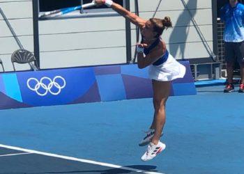 Η Μαρία Σάκκαρη στο πρώτο της παιχνίδι στους Ολυμπιακούς Αγώνες του Τόκυο (φωτ.: Twitter/Λευτέρης Αυγενάκης)