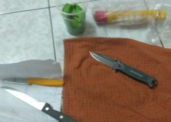 Τα μαχαίρια που χρησιμοποιήθηκαν στην επίθεση (φωτ.: astynomia.gr)