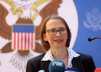 Η πρέσβης των ΗΠΑ στην Κύπρο (φωτ.: EPA/ Katia Christodoulou)