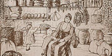 «Το κελάρι», σκίτσο Χρήστου Δημάρχου. Πηγή: Αρχείον Πόντου, τόμος 38