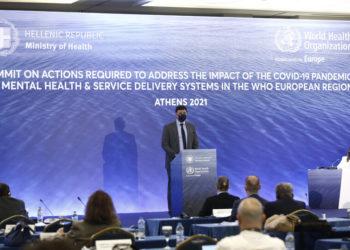 Ο υπουργός Υγείας, Βασίλης Κικίλιας μιλάει στο διεθνές συνέδριο για τη ψυχική υγεία με θέμα «Οι συνέπειες της Covid-19 στην Ψυχική Υγεία και στα συστήματα παροχής υπηρεσιών υγείας» (φωτ.: ΑΠΕ-ΜΠΕ/ Γιάννης Κολεσίδης)