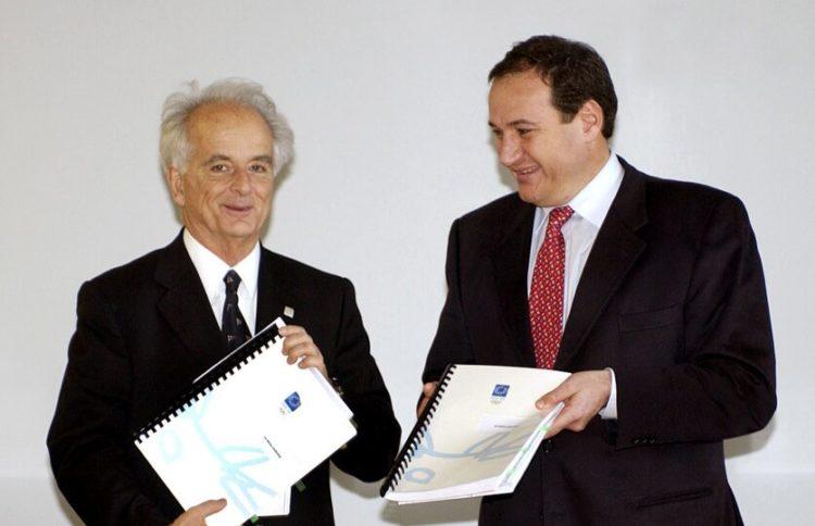 Οι Ανδρέας Ποταμιάνος και Σπύρος Καπράλος το 2003 (φωτ.: ATHOC/ Βούλγαρη)
