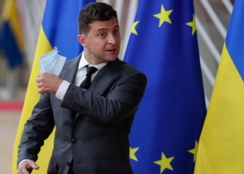 O Ουκρανός πρόεδρος Βολοντίμιρ Ζελένσκι στις Βρυξέλλες (φωτ.: EPA / Stephanie Lecocq)