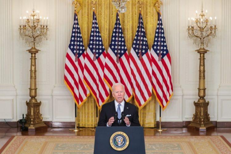 Ο Αμερικανός πρόεδρος Τζο Μπάιντεν στο διάγγελμά του για το Αφγανιστάν (φωτ.: EPA/Oliver Contreras / POOL)