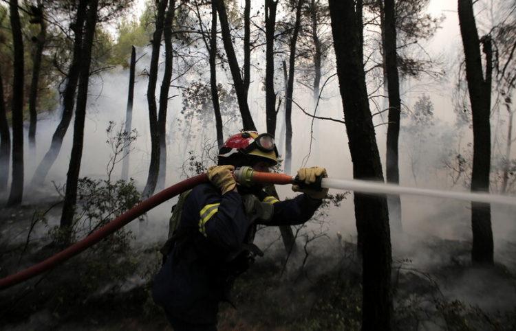 Πυροσβέστης παλεύει με τις φλόγες στη Βαρυμπόμπη, 5/8/2021, (φωτ.: EPA/ Kostas Tsironis)