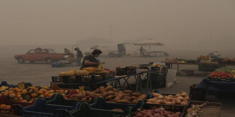 Κάτοικοι της Ιστιαίας κάνουν τις αγορές τους στη λαϊκή αγορά ανάμεσα σε πυκνούς καπνούς κατά τη διάρκεια δασικής πυρκαγιάς στην Εύβοια, Δευτέρα 9 Αυγούστου 2021 (φωτ.: ΑΠΕ-ΜΠΕ/ Κώστας Τσιρώνης)