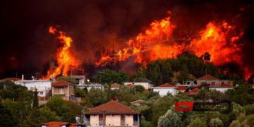 Το πύρινο μέτωπο στο Πελόπιο Εύβοιας την Τετάρτη (φωτ.: Facebook / Vaggelis Dimitropoulos)