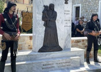 Το μνημείο για τη Γενοκτονία των Ποντίων που τοποθετήθηκε στον Αμυγδαλεώνα Καβάλας (πηγή: Μακάριος Λαζαρίδης)