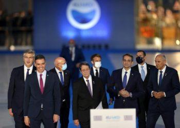 Οι ηγέτες των χωρών που συμμετέχουν στην EUMED 9, στη Σύνοδο Κορυφής των Μεσογειακών χωρών της Ευρωπαϊκής Ένωσης, στο Κέντρο Πολιτισμού Ίδρυμα Σταύρος Νιάρχος, Αθήνα (φωτ.: ΑΠΕ-ΜΠΕ/Ορέστης Παναγιώτου)