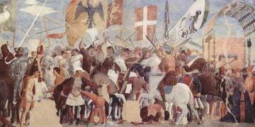 «Ιστορίες του Αληθούς Σταυρού: Μάχη μεταξύ Ηρακλείου Ι και Χοσρόη Β'», Αρέτσο, San Francesco – Τοιχογραφία του Piero della Francesca, 1452