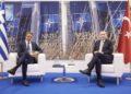 Κυριάκος Μητσοτάκης και Ρετζέπ Ταγίπ Ερντογάν κατά τη διάρκεια της συνάντησής τους στην έδρα του NATO, στις Βρυξέλλες, τον περασμένο Ιούνιο (φωτ.: EPA/DMITRIS PAPAMITSOS/HANDOUT)