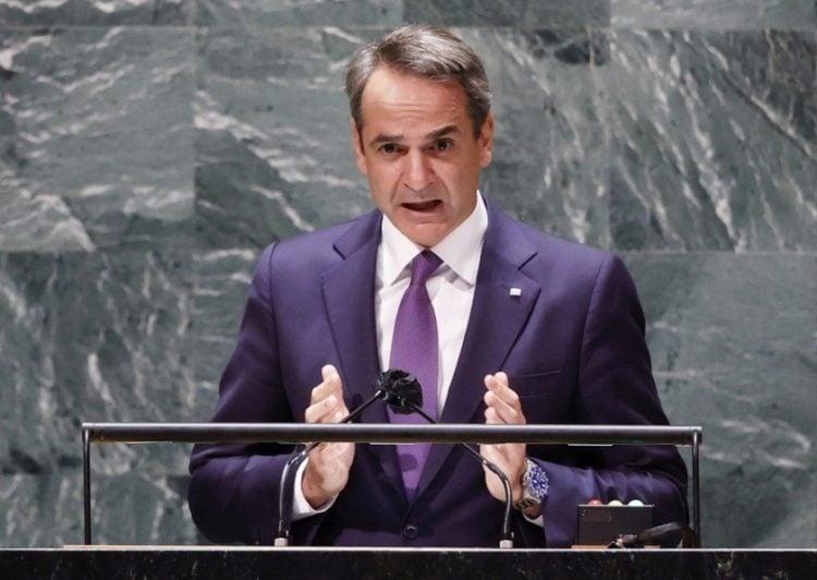 Ο Κυριάκος Μητσοτάκης στην ΓΣ του ΟΗΕ, στη Νέα Υόρκη (φωτ.: EPA/JOHN ANGELILLO / POOL)