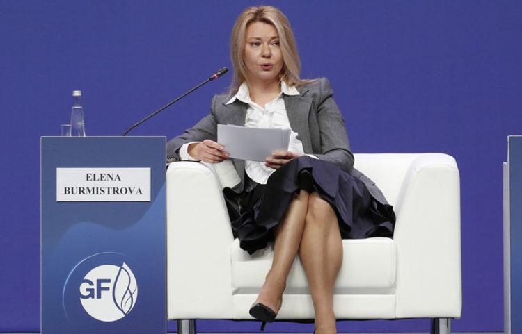 Η Γιελένα Μπουρμίστροβα, επικεφαλής του εξαγωγικού βραχίονα της ρωσικής πετρελαϊκής εταιρείας και παραγωγού φυσικού αερίου Gazprom (φωτ.: EPA / Anatoly Maltsev)
