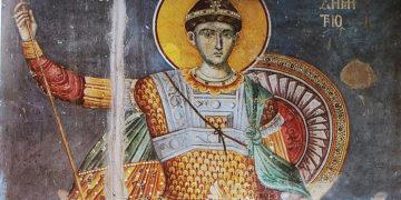 Τοιχογραφία του Αγίου Δημητρίου στο Πρωτάτο των Καρυών. Μανουήλ Πανσέληνος, 1290-1310 (πηγή: Wikipedia)
