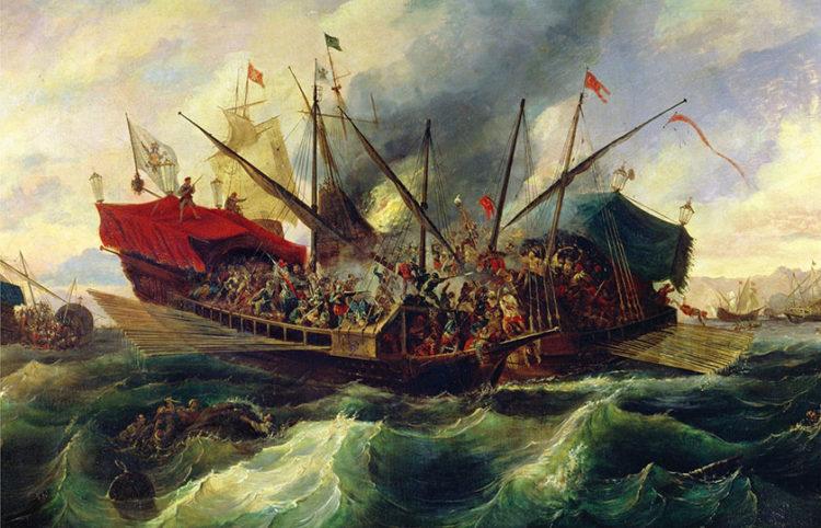 Πίνακας του Ισπανού Antonio de Brugada με θέμα τη Ναυμαχία της Ναυπάκτου. Λάδι σε καμβά (π. 1863). Συλλογή Ναυτικού Μουσείου Βαρκελόνης (πηγή: Wikipedia)