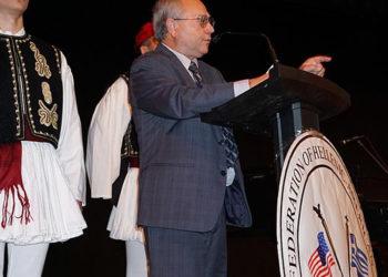 O Βασίλης Καυκάς, πρόεδρος της Ομοσπονδίας Ελληνοαμερικανικών Σωματείων Νέας Αγγλίας (φωτ.: «Εθνικός Κήρυκας»)